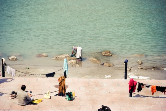 Bank of the Ganga River in India, by Anna Vesna.